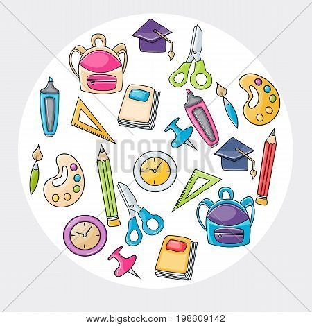 School elements clip art doodle in cartoon style for greeting card. Hand draw vector illustration for banner or flyer. Typography text.