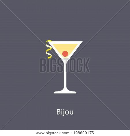Bijou cocktail icon on dark background in flat style. Vector illustration