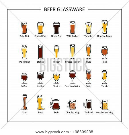 Beer glassware guide, colored icons on white background. Vector illustration