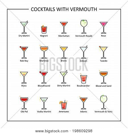 Cocktails with vermouth guide, colored icons on white background. Vector illustration