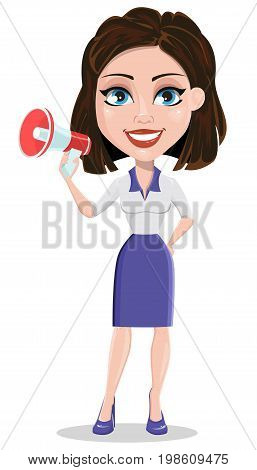 Beautiful business woman holding loudspeaker. Businesswoman in formal wear standing straight. Cute cartoon character. Vector illustration.