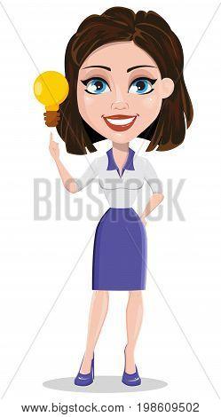 Beautiful business woman having idea. Businesswoman in formal wear standing straight. Cute cartoon character. Vector illustration.
