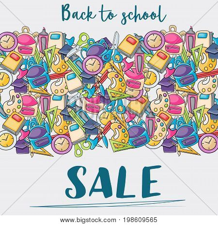 Back to school sale doodle clip art greeting card. Cartoon vector illustration for flyer to banner. Typography script text.