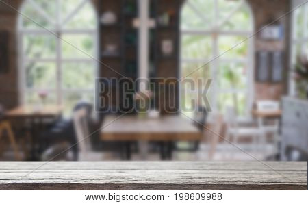 Table And Chair In Food Court, Cafe, Coffee Shop, Restaurant Interior With Wood Table For Montage Or