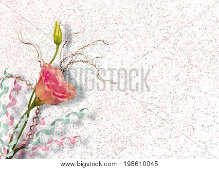 Vintage postcard for invitation with bunch of beautiful roses