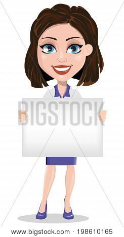 Beautiful business woman holding blank placard. Businesswoman in formal wear standing straight. Cute cartoon character. Vector illustration.