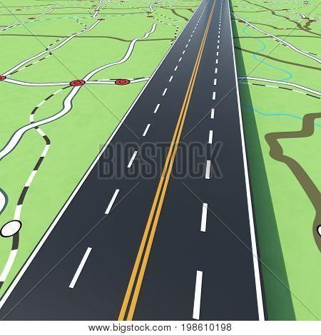 Road crosses the cities. Concept of infrastructure, road links, highway.3D Rendering
