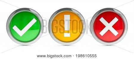 Buttons tick & cross & exclamation point isolated on white background represent web security concept three-dimensional rendering 3D illustration