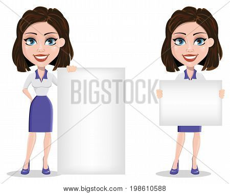 Beautiful business woman holding blank placard and standing near placard. Businesswoman in formal wear standing straight. Cute cartoon character. Vector illustration.
