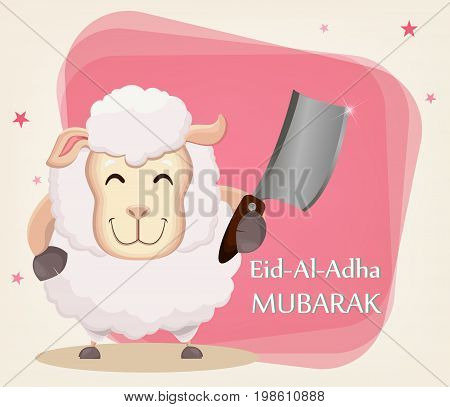 Festival of sacrifice Eid al-Adha. Traditional muslin holiday. Greeting card with funny sheep holding cleaver. Vector illustration on abstract background.
