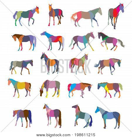 Set of mosaic vector colorful trotting and galloping horses silhouettes isolated on white background