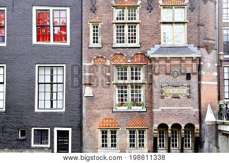 Buildings facade in the city center - Amsterdam Holland Europe