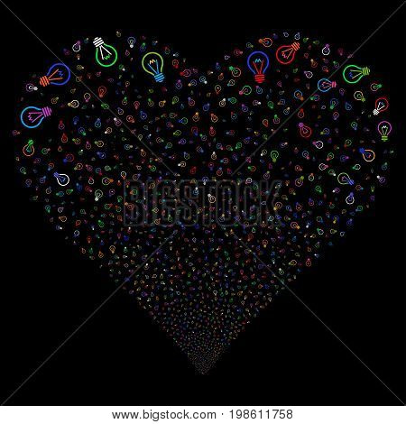Electric Bulb fireworks with heart shape. Vector illustration style is flat bright multicolored iconic symbols on a black background. Object heart organized from confetti icons.