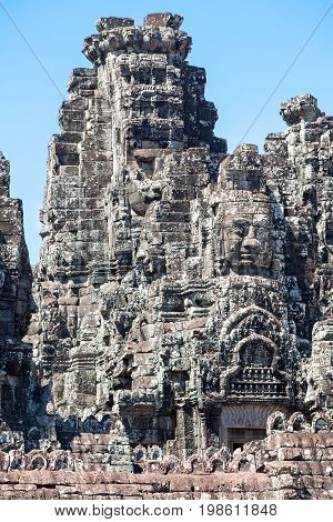 Bayon at Angkor Cambodia historic ruins of the Khmer period