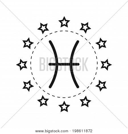 Pisces. Sign of the zodiac. Flat symbol horoscope and predictions. Vector object for design