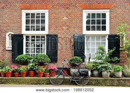 Building facade and bicycle nice view in Amsterdam Holland Europe