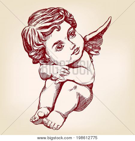 angel or cupid, little baby greeting card hand drawn vector illustration sketch