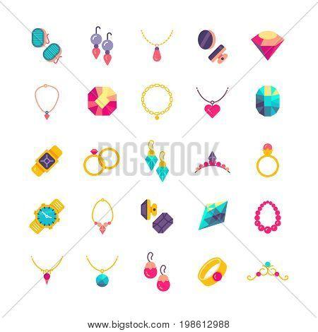 Luxury jewelry flat vector icons. Diamond luxury and jewelry pearl illustration