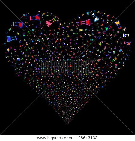 Flask fireworks with heart shape. Vector illustration style is flat bright multicolored iconic symbols on a black background. Object salute constructed from random pictograms.