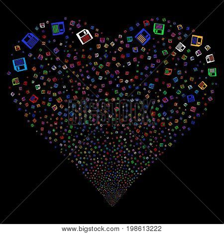 Floppy Disk fireworks with heart shape. Vector illustration style is flat bright multicolored iconic symbols on a black background. Object salute made from scattered pictographs.