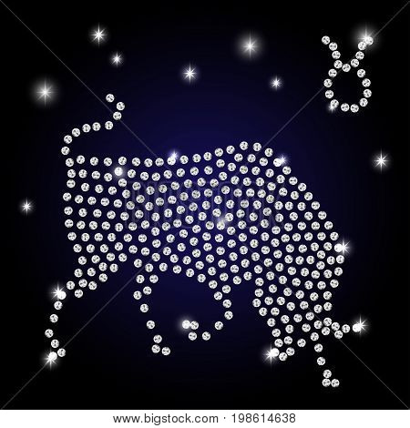 Sign of the zodiac Taurus is the starry sky vector Illustration. Contour icon.