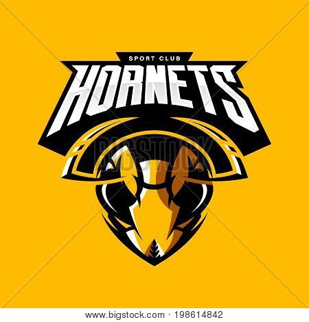 Furious hornet head athletic club vector logo concept isolated on orange background.  Modern sport team mascot badge design. Premium quality wild insect emblem t-shirt tee print illustration.