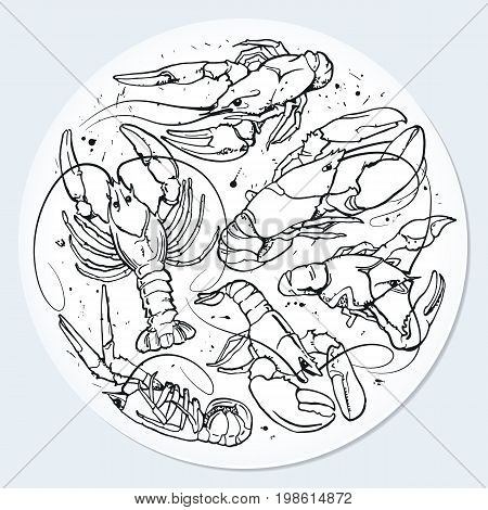 Circle with crayfish background for beer mug or bottle. Splatter ink seafood paint with drops