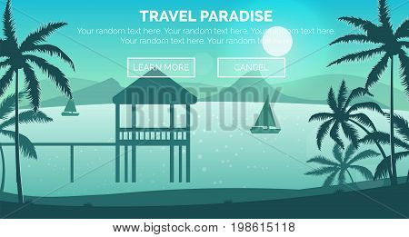 Illustration of sunny seashore beach, aerial view of a landscape with ocean, palm trees, sailing boats and a little hut in the sea. Web header banner template.