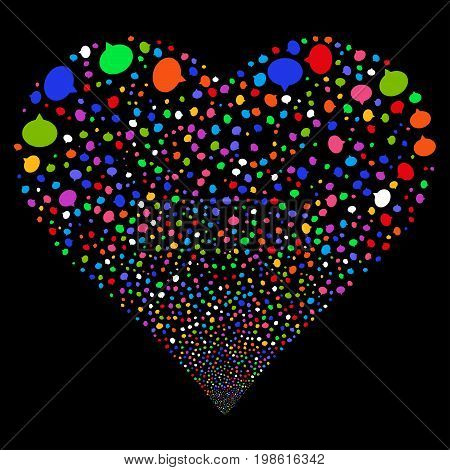 Hint fireworks with heart shape. Vector illustration style is flat bright multicolored iconic symbols on a black background. Object heart done from random pictographs.