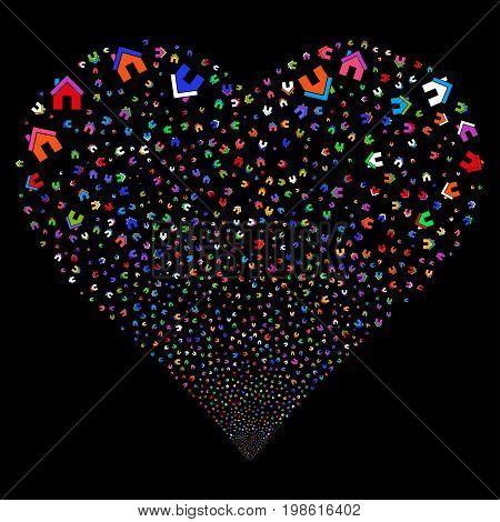 Home fireworks with heart shape. Vector illustration style is flat bright multicolored iconic symbols on a black background. Object valentine heart done from random icons.