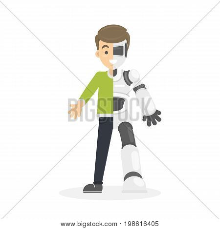 Half human half robot. Isolated smiling cyborg on white background.