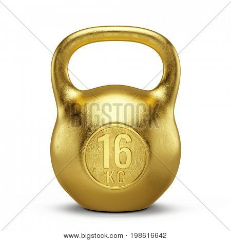 Gold Kettlebell gym weight isolated on white background. 3d render