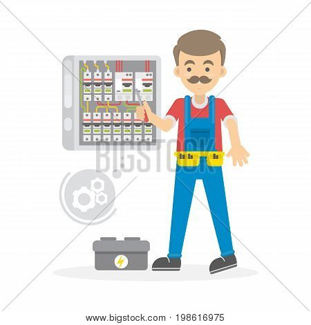 Electrician at work. Man with tools repairs wires on white background.