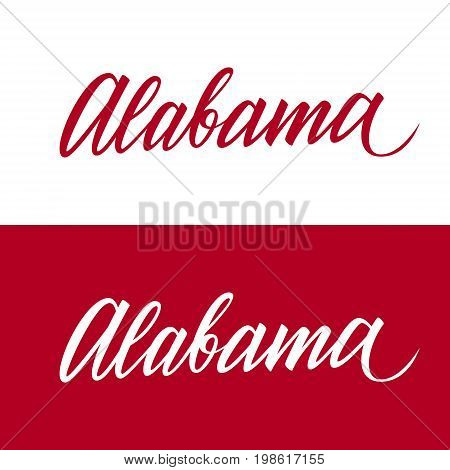 Handwritten U.S. state name Alabama. Calligraphic element for your design. Vector illustration.