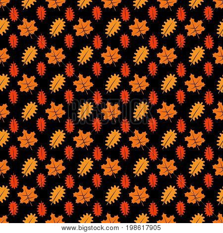 Bright maple and oaks leaves seamless pattern. Vector background pattern oak and maple, illustration of colored fall leaf