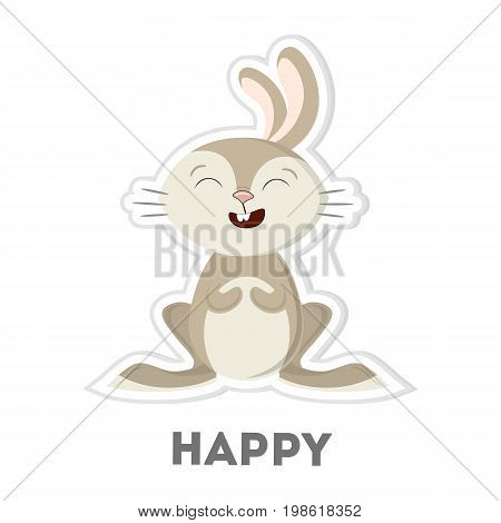 Isolated happy bunny on white background. Funny cartoon character.