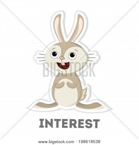 Isolated interested rabbit on white background. Funny cartoon animal.