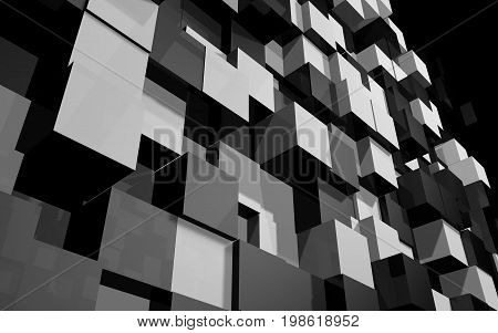 Abstract beautiful creative background of black and grey extended and dented cubes wall at angle from bottom to top with reflections goes into space for desktop site banner. 3d Render