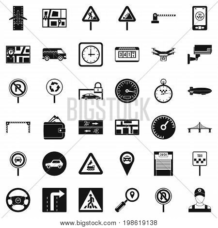 Car in city icons set. Simple style of 36 car in city vector icons for web isolated on white background