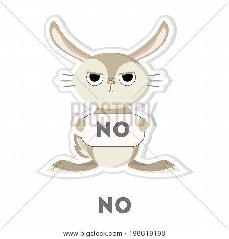 Isolated refusing rabbit on white background. Funny cartoon emoji.