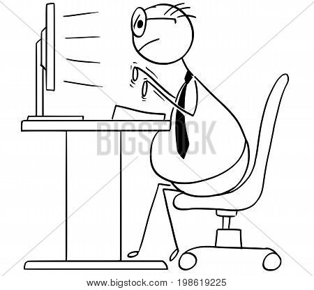 Cartoon vector stick man illustration of fat overweight programmer or clerk or office worker is sitting on the chair and typing on the computer keyboard.