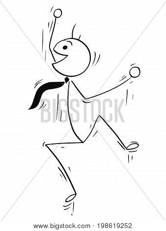 Cartoon vector stick man illustration of happy male businessman jumping.