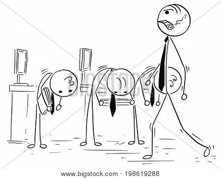 Cartoon vector stick man illustration on angry manager or boss walking with big cigar and subordinate clerks bow down