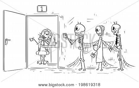 Cartoon vector stick man illustration of three human skeletons of of people who were dying waiting in queue or line female clerk or office worker is phone calling instead of working.