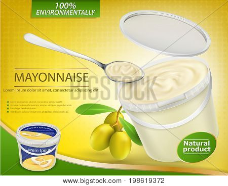 Vector 3D illustration, realistic poster with a plastic pail filled with olive mayonnaise and a nearby twig with olives. Template, mock up for advertising and promotion of new mayonnaise, sauce