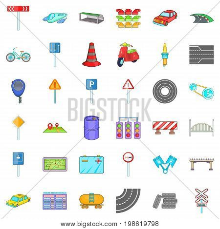 Road sigh icons set. Cartoon style of 36 road sigh vector icons for web isolated on white background