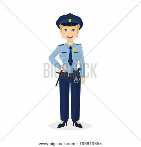 Isolated happy policewoman on white background. Happy positive woman.