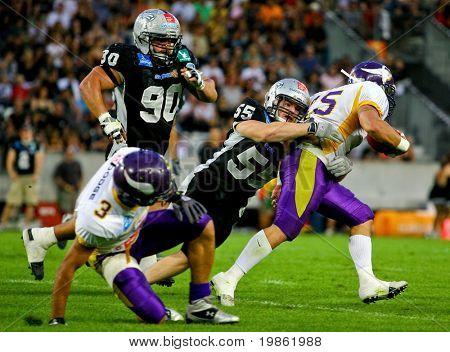 Innsbruck, Austria - July 5: The Tirol Raiders win the European Football League 2008 against the Vienna Vikings.