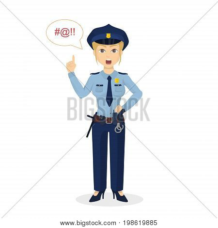 Isolated angry policewoman shouting bad words on white background.