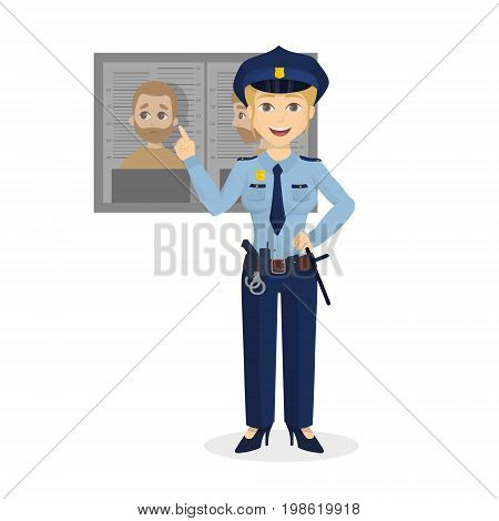 Isolated warning policewoman on white background with portrait of criminal.
